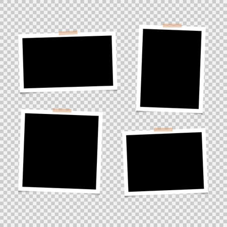 Illustration for Photo frame set with adhesive tape. Photo realistic mockups isolated on transparent background Vector EPS10 - Royalty Free Image