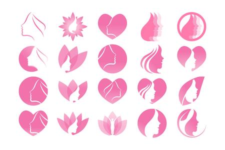Illustration for Spa aesthetic girl logo design template vector - Royalty Free Image