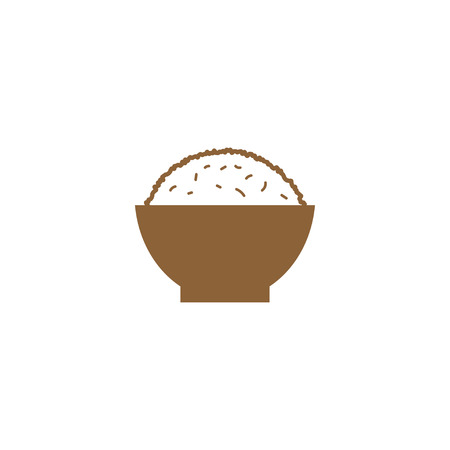 Illustration for Simple rice on a bowl silhouette logo design template vector - Royalty Free Image