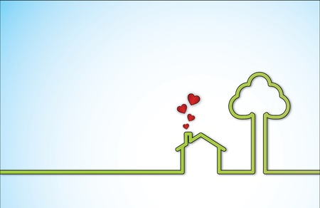 Simple Sweet Home illustration with a lonely green home next to a big tree with red heart shaped icons coming out of chimney