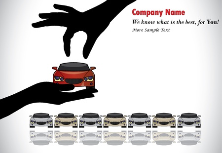 Care Sale or Car Key Concept Illustration   A hand silhouette choosing red colored car offered by the sales rep from a number of cars display for sale