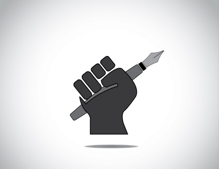 protesting human hand fist holding a fountain pen concept icon  black colorful hand holding pen in protest or winning with closed fingers