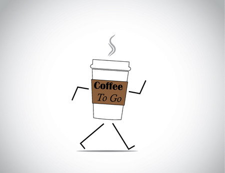 white fresh and hot coffee to go cup walking with bright white background concept illustration