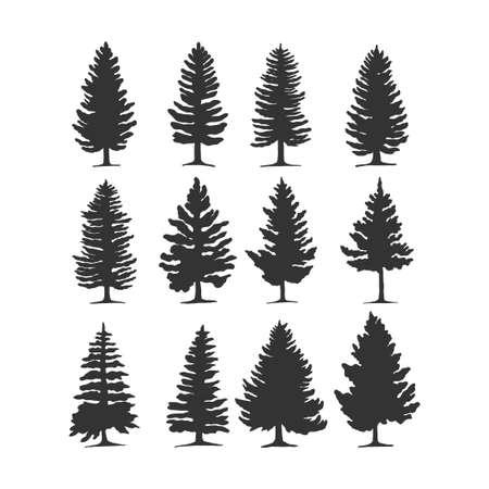 Illustration pour pine tree vector silhouette illustration. good for nature design or decoration template. simple grey color - image libre de droit