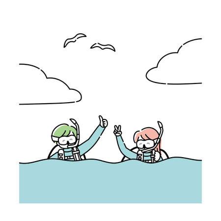 Illustration pour Men and women enjoy scuba diving - image libre de droit