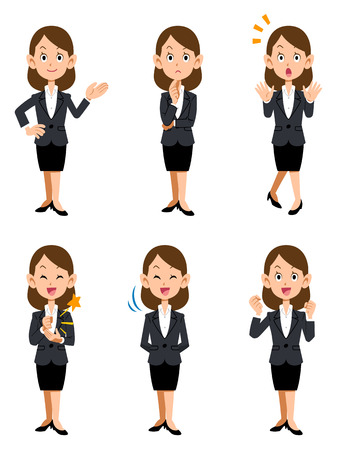 Illustration pour Women working in the office, six kinds of gestures and facial expressions - image libre de droit