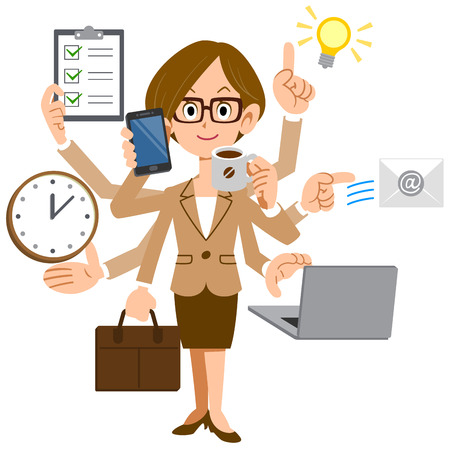 Businesswoman multiplied by the glasses do a multitasking