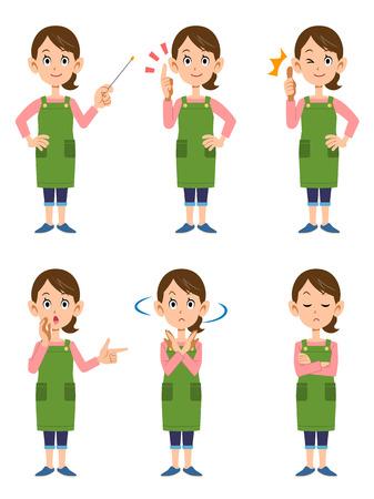 Illustration pour Women wearing aprons 6 posset - image libre de droit