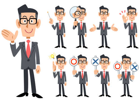 Illustration pour Gestures and expressions of glasses-worn businessmen wearing red tie and gray suit - image libre de droit