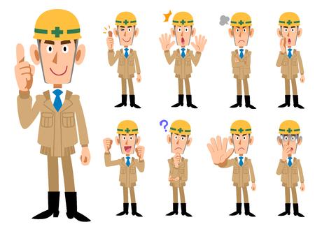 Illustration pour Construction industry _ Men in beige colored work clothes _ 9 types of poses set - image libre de droit