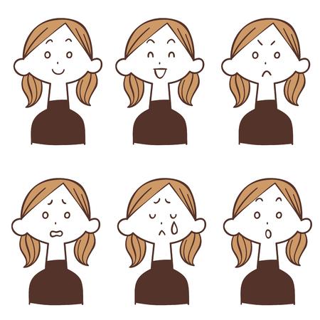 Illustration pour Female facial expression of turtlenecs 6 types - image libre de droit