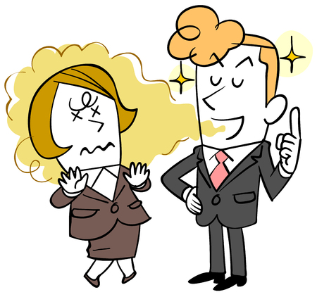 Illustrazione per A young businessman who does not notice bad breath and a woman who suffers - Immagini Royalty Free