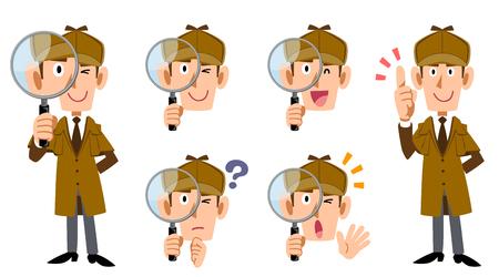 Illustration pour Male Detective's whole body and facial expression set - image libre de droit