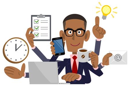 Illustration pour Businessman doing multitasking, African American, Black - image libre de droit