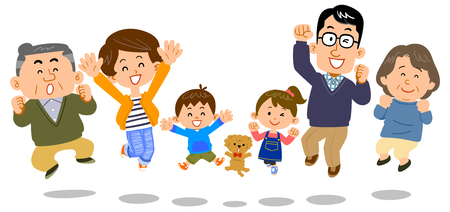 Illustration for Jumping family three generations - Royalty Free Image