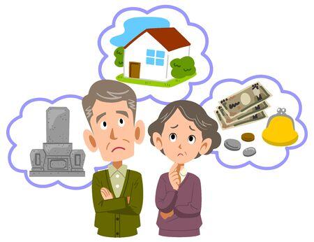 Illustration pour Upper body of senior couple worried about retirement - image libre de droit