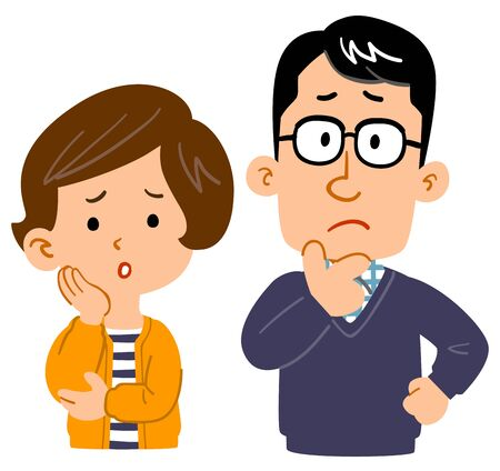 Illustration for Worried couple upper body illustration - Royalty Free Image
