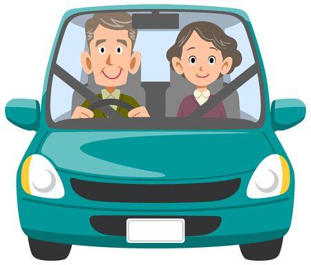 Ilustración de Elderly couple going out by car - Imagen libre de derechos