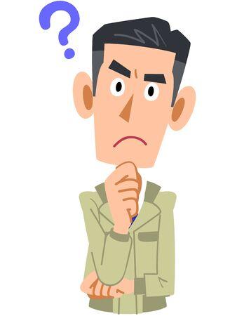 Illustration pour Upper body of a man in work clothes having doubts - image libre de droit