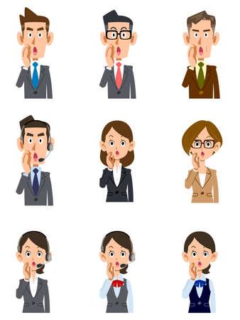 Illustration pour Whispering office worker men's and women's upper body set - image libre de droit