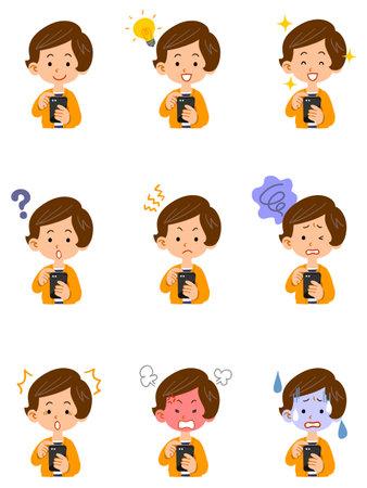 Illustration pour Illustration set of facial expressions of women operating smartphones - image libre de droit