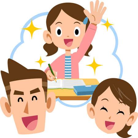 Illustration pour Smiley parents and a girl with excellent grades - image libre de droit