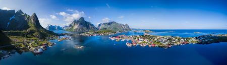 Scenic aerial panorama of fishing town Reine and surrounding fjords on Lofoten islands in Norway, famous for its breathtaking scenery