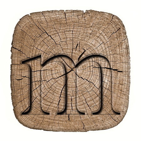 Wooden alphabet block, letter m