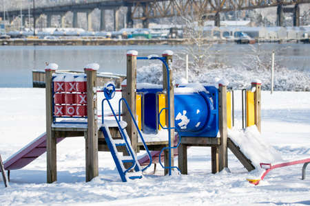 Photo pour A Playground Structure Covered in Snow   Vancouver BC Canada  - image libre de droit