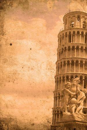 Photo pour Retro look of the Tower of Pisa - image libre de droit