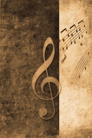 old music notes in retro design look