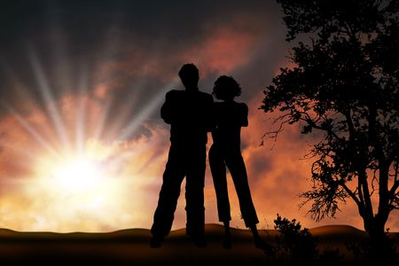 Couple in sunset, boy and girl friendship forever