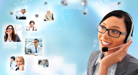 Telemarketing headset woman from call center smiling happy talking in hands free headset device. Business woman in suit on blue background and portraits of people