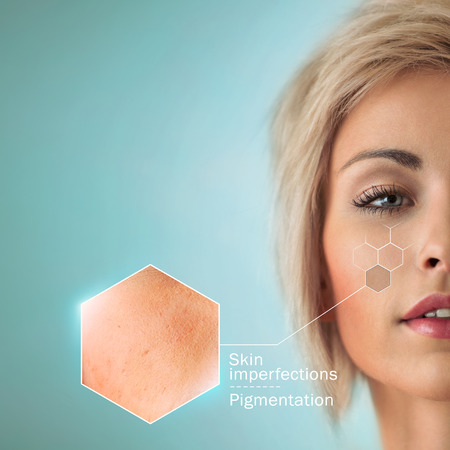Bright closeup portrait of beautiful woman with skin crops. Skincare concept