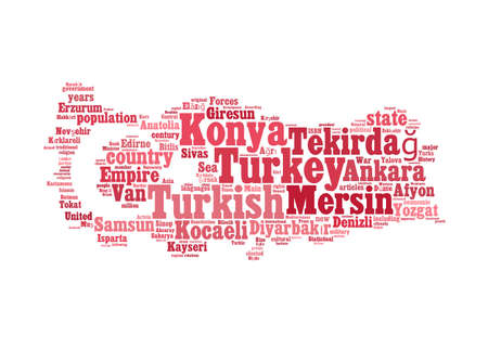 Turkey map and words cloud with larger cities