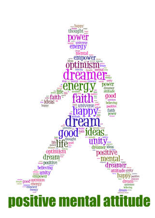 PMA Word Cloud Concept great terms such as Positive Mental Attitude, empower, faith, dream, brain on man walking