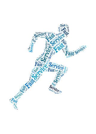 Fast Service words on man running symbol, symbolizing speedy customer support in a business