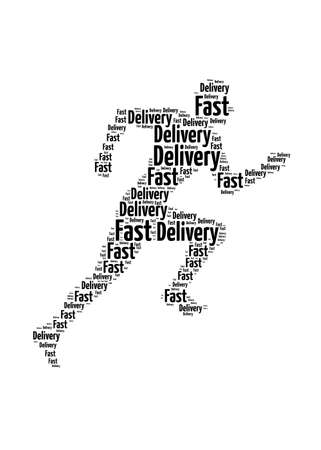 Fast delivery words on man running symbol, symbolizing speedy customer support in a business
