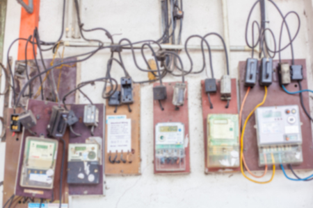 Blurry Of Dangerous Electric Meter Messy Faulty Electrical Wiring Installation Royalty Free Images Photos And Pictures