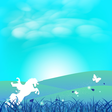 Illustration pour Unicorn and butterfly fantasy paper art concept stars scatter on grass field with clouds in sunny landscape abstract background vector illustration - image libre de droit