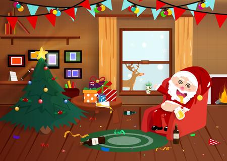 Illustration pour Santa Claus drunk on Christmas night, flat interior, party celebration cartoon poster, postcard, winter holiday season background vector illustration - image libre de droit