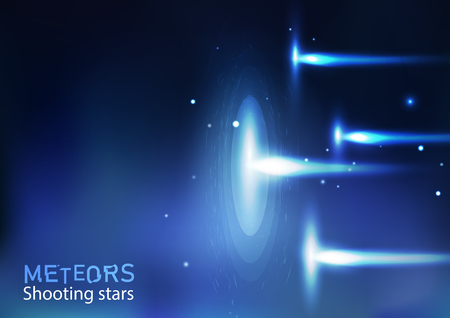 Illustration pour Meteors shooting stars astronomy galaxy and space, light bright neon effect concept vector abstract background illustration in horizontal - image libre de droit