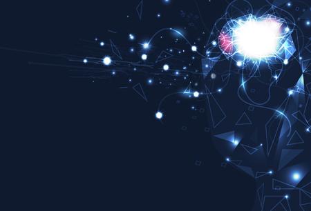 Illustration pour Artificial intelligence brain control, digital futuristic technology abstract background vector illustration - image libre de droit