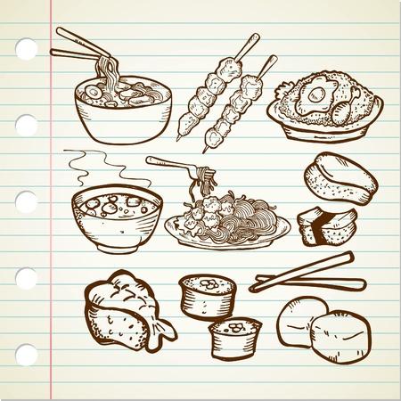 asian food doodle