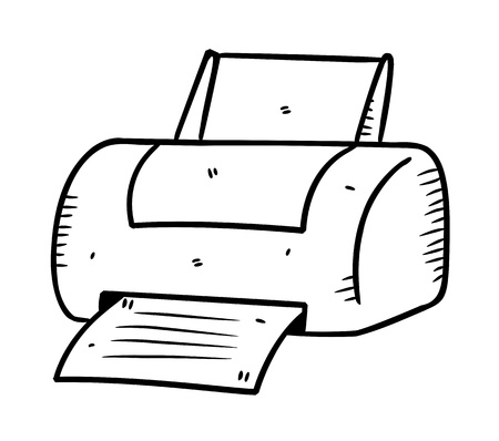 printer in doodle style