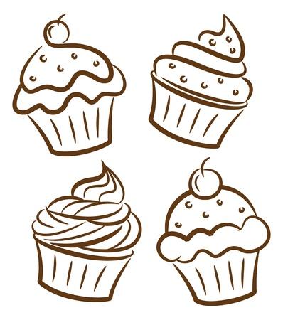 cupcake and yoghurt doodle