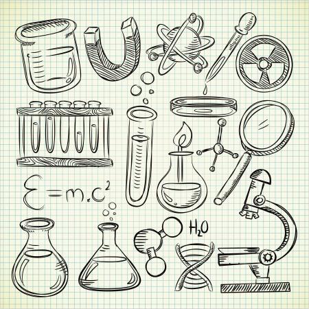 Ilustración de Set of science stuff in doodle style - Imagen libre de derechos