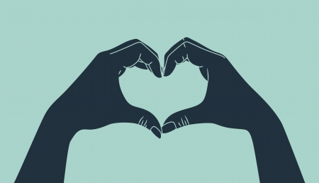 Illustration for hand making heart sign - Royalty Free Image