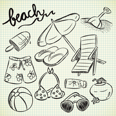 set of beach stuff in doodle style