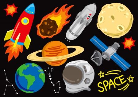 Illustration pour space doodle set - image libre de droit